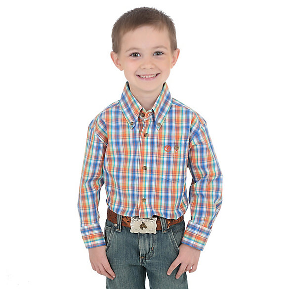 Boy's Classic Button-Down Plaid Shirt