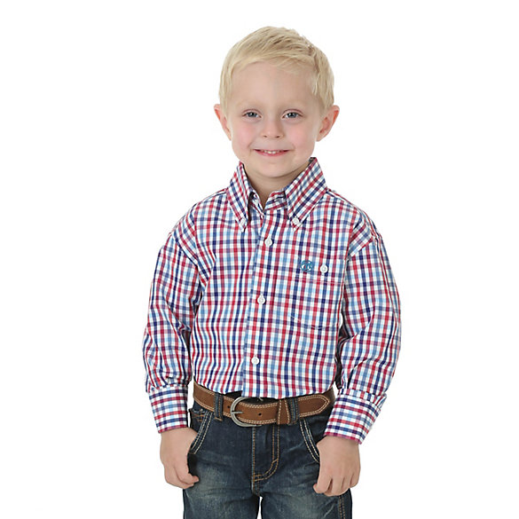 Boy's Classic Button Down Plaid Shirt