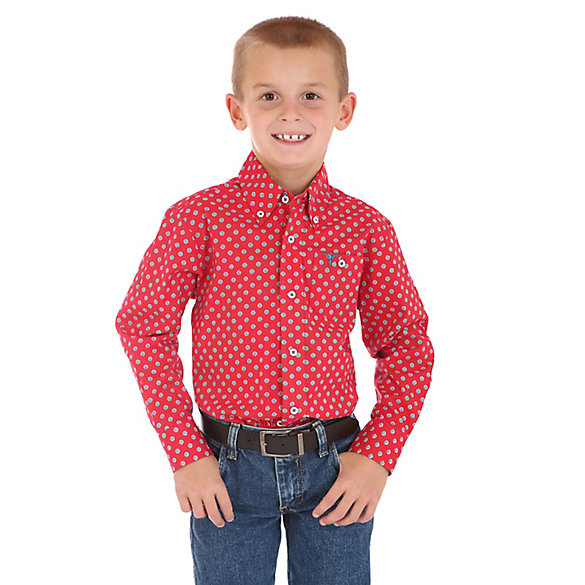 Boy's Wrangler® 20X® Advanced Comfort Button-Down Printed Shirt
