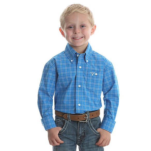 Boy's Wrangler® 20X® Advanced Comfort Button Down Plaid Shirt