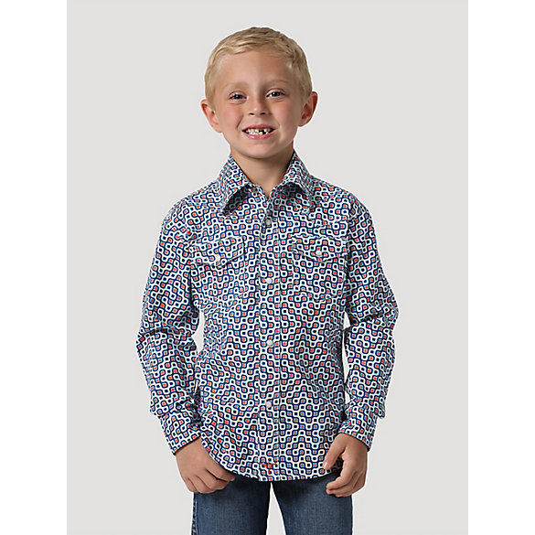 Boy's Wrangler® 20X® Advanced Comfort Western Snap Print Shirt
