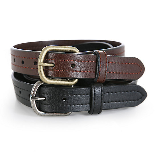 Boy's Leather Belts - 2 Pack
