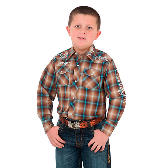 Boy's Wrangler® Logo Long Sleeve Western Snap Plaid Shirt with Yoke Embroidery