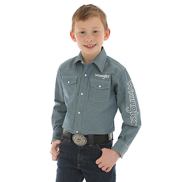 Boy's Wrangler® Long Sleeve Western Snap Logo Chambray Shirt