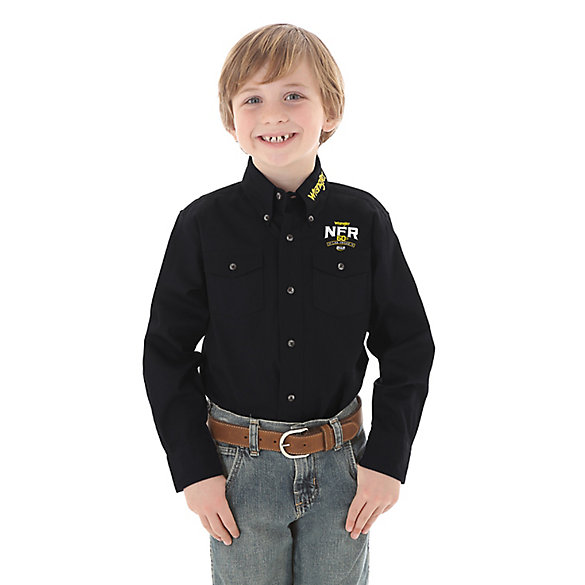 Boy's Wrangler® Long Sleeve National Finals Rodeo Button-Down Logo Shirt