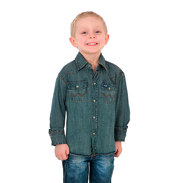 Boy's Cowboy Cut® Long Sleeve Work Western Denim Snap Shirt