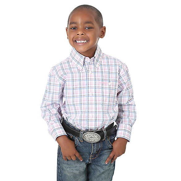 Boy's Tough Enough to Wear Pink™ Plaid Button-Down Shirt