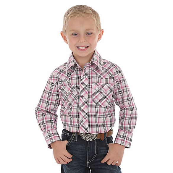 Boy's Tough Enough to Wear Pink™ Long Sleeve Western Snap Plaid Shirt