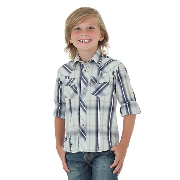 Boy's Long Sleeve Western Snap Plaid Shirt