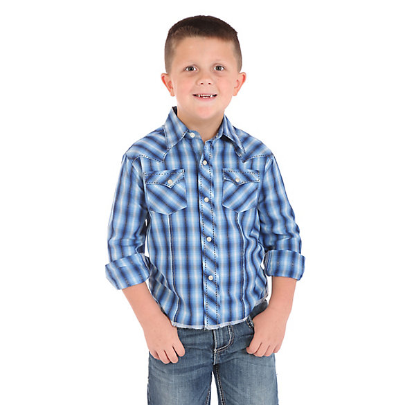 Boy's Long Sleeve Fashion Western Snap Plaid Shirt