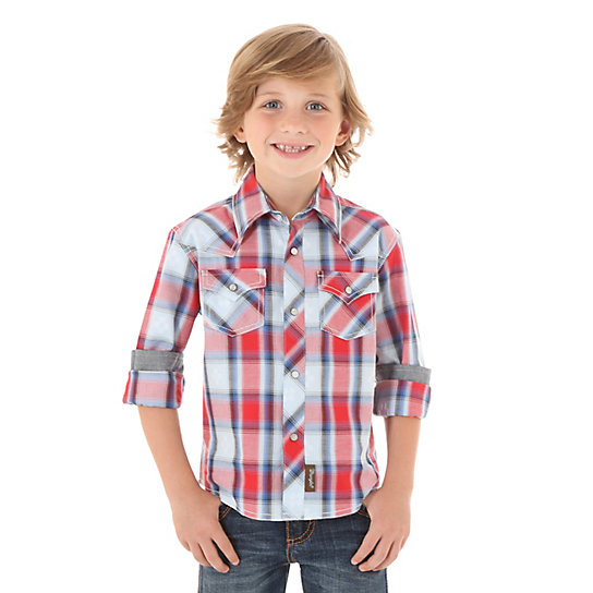 Boy's Wrangler Retro Plaid Western Snap Shirt