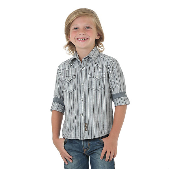 Boy's Wrangler Retro® Long Sleeve Western Snap Stripe Shirt