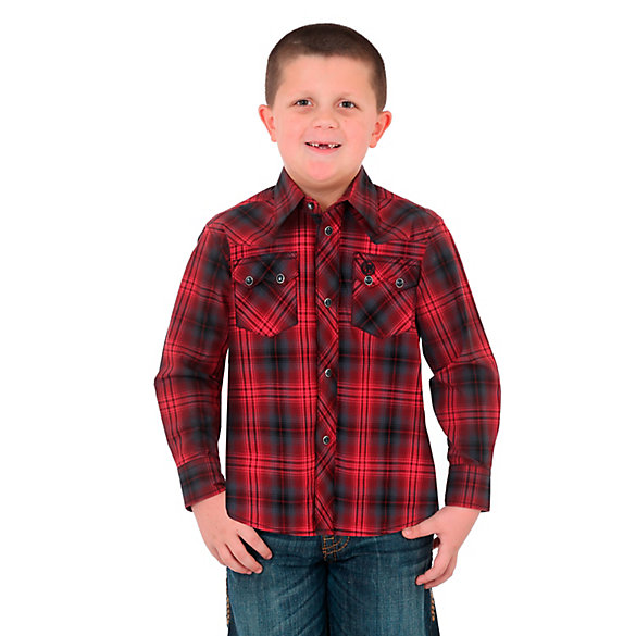 Boy's Wrangler Retro® Western Snap Plaid Shirt with Sawtooth Pockets