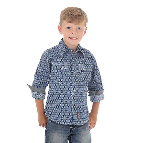 Boy's Wrangler Retro® Long Sleeve Western Snap Plaid Shirt with Double Snap Pockets