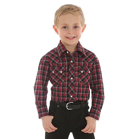 Boy's Wrangler Retro® Western Snap Plaid Shirt with Front Sawtooth Pockets