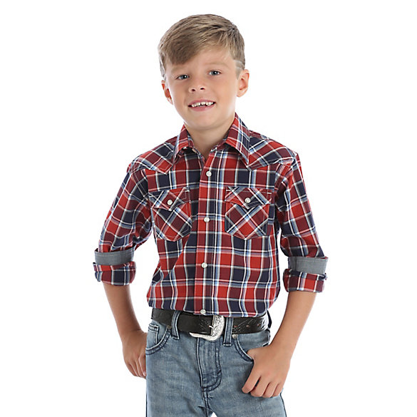 Boy's Wrangler Retro® Western Snap Plaid Shirt