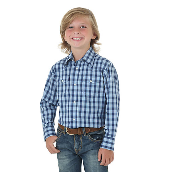Boy's Wrinkle Resist Western Snap Plaid Shirt