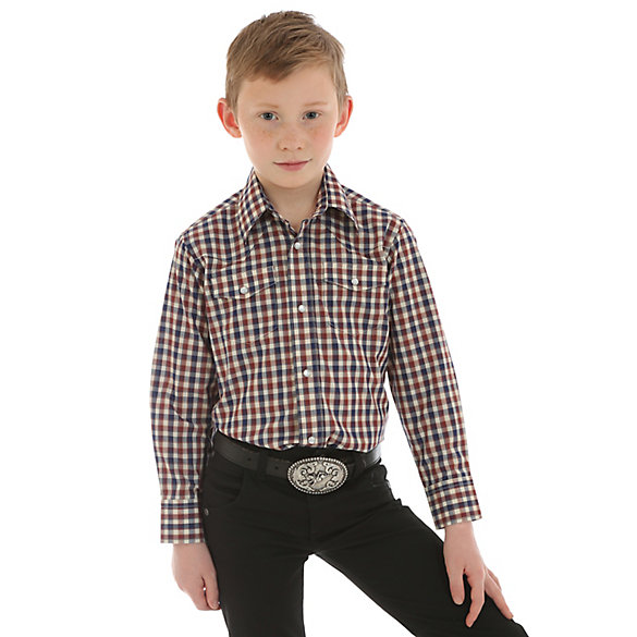 Boy's Long Sleeve Wrinkle Resist Western Snap Plaid Shirt