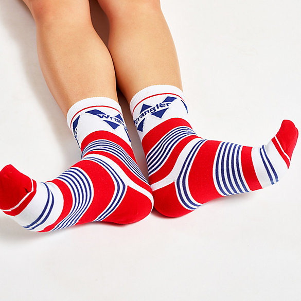 Women's Retro Stripe Metallic Logo Crew Sock