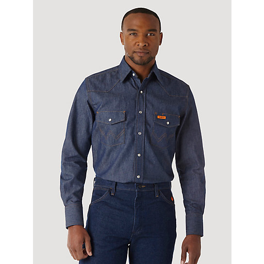 Wrangler® FR Flame Resistant Long Sleeve Denim Work Shirt (Big & Tall Sizes)