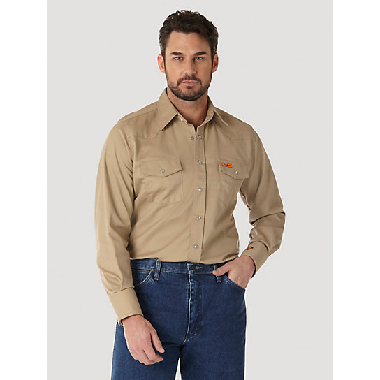 Wrangler® FR Flame Resistant Long Sleeve Western Snap Solid Twill Work Shirt (Big & Tall Sizes)