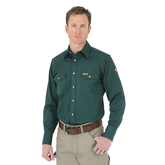 Wrangler® FR Flame Resistant Long Sleeve Solid - Green (Big & Tall Sizes)