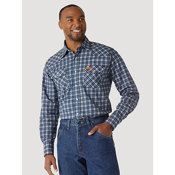 d2e93a4aa365 Men s Wrangler® FR Flame Resistant Long Sleeve Western Snap Plaid Shirt