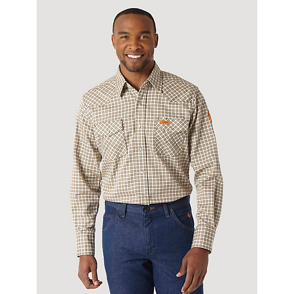 Wrangler® FR Flame Resistant Long Sleeve Plaid - Khaki/White