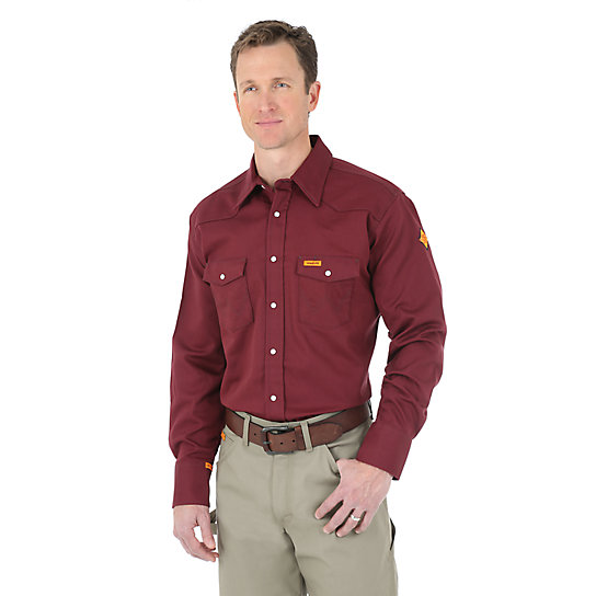 Wrangler® FR Flame Resistant Long Sleeve Solid - Burgundy