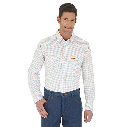 Wrangler® Western FR Flame Resistant Long Sleeve Spread Collar Plaid Shirt -  White  (Big & Tall Sizes)
