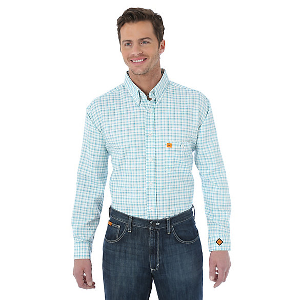 Men's Wrangler® FR Flame Resistant Long Sleeve Button Down Plaid Shirt