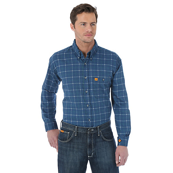 Wrangler® Western FR Long Sleeve Button Down Collar Plaid Shirt ...