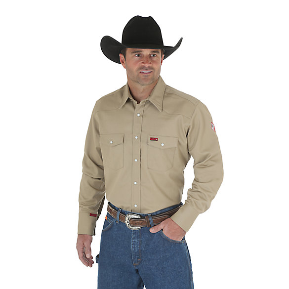 Wrangler® Flame Resistant Long Sleeve Twill Work Shirt (Big & Tall Sizes)
