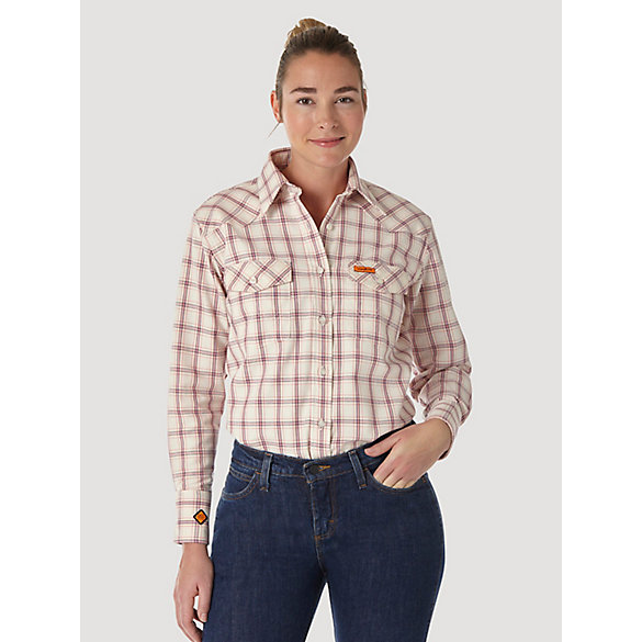 Women's Wrangler® FR Flame Resistant Long Sleeve Plaid Top