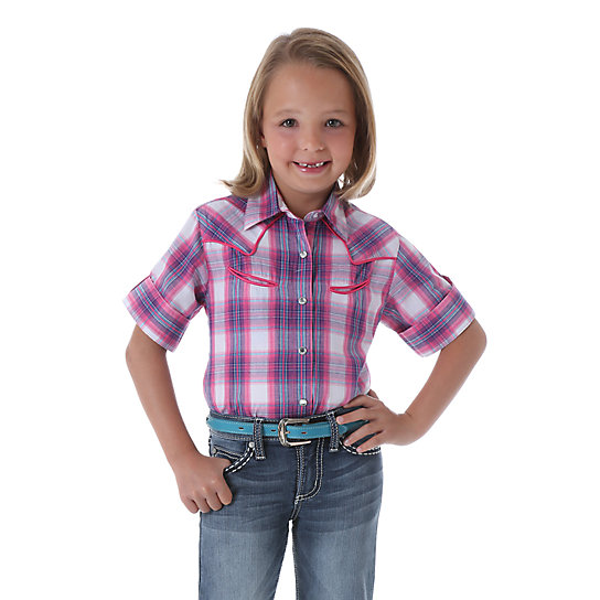 Girl's Rock 47® by Wrangler® Half Tab Plaid Top