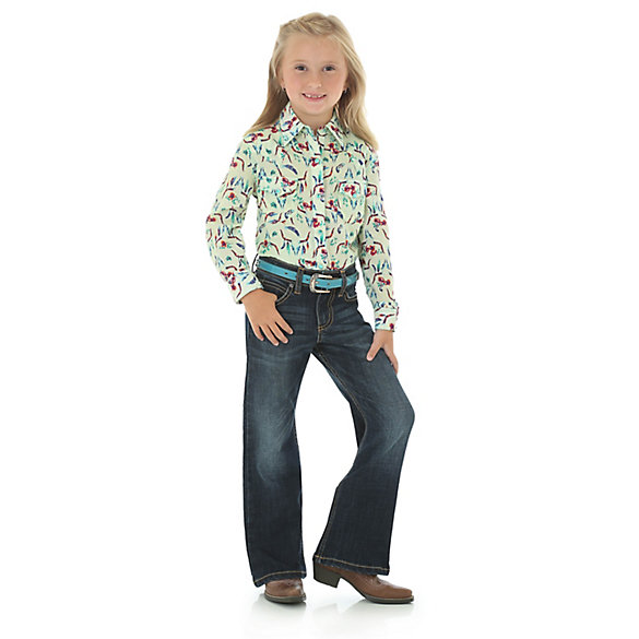 Girl's Steerhead Print Western Snap Shirt