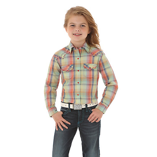 Girl's Rock 47 by Wrangler Long Sleeve Western Snap Shirt