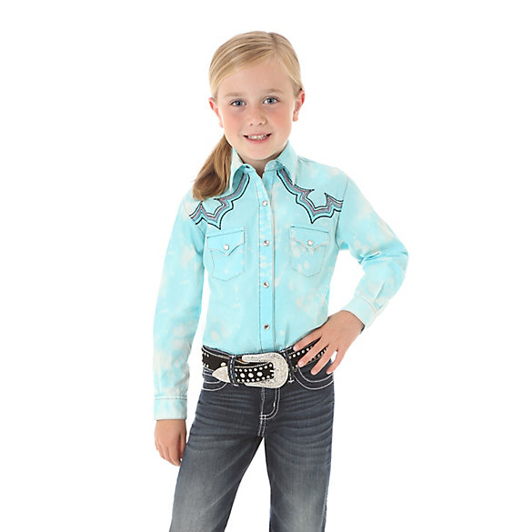 Girl's Rock 47® by Wrangler® Spotted Long Sleeve Western Snap Shirt