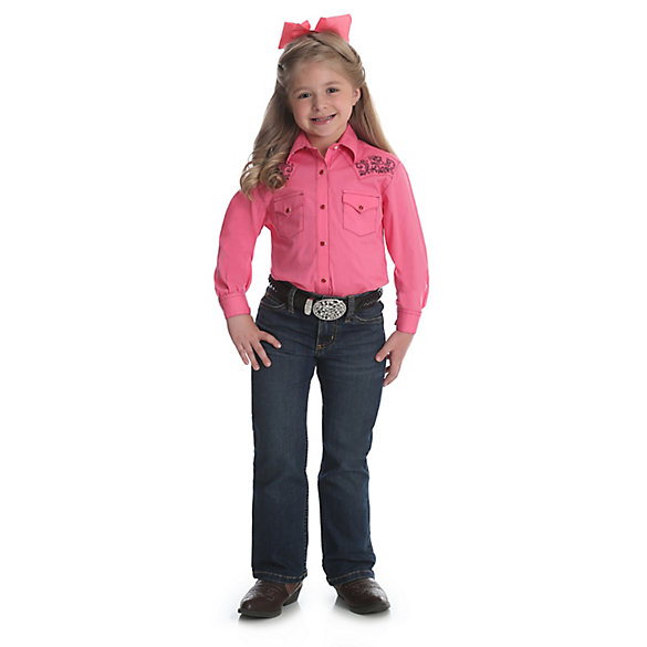Girl's Long Sleeve Western Snap Shirt with Embroidered Yokes