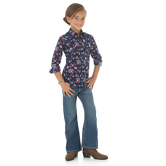 Girl's At-Once Long Sleeve Western Snap Printed Shirt