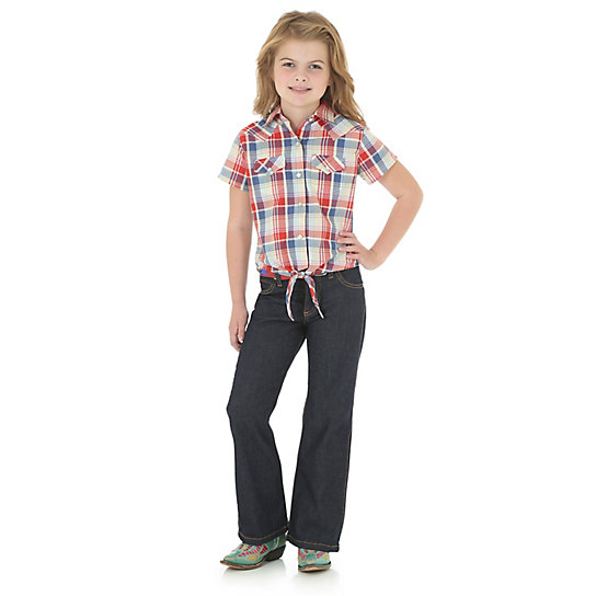 Girl's At-Once Short Sleeve Western Snap Shirt