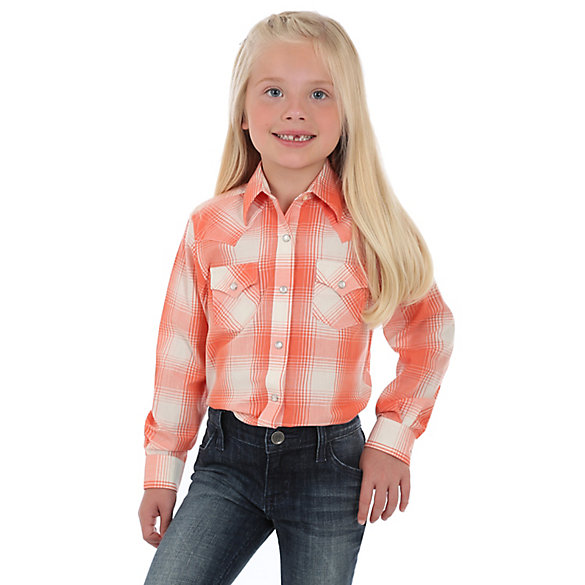 Girl's Long Sleeve Plaid Western Snap Shirt