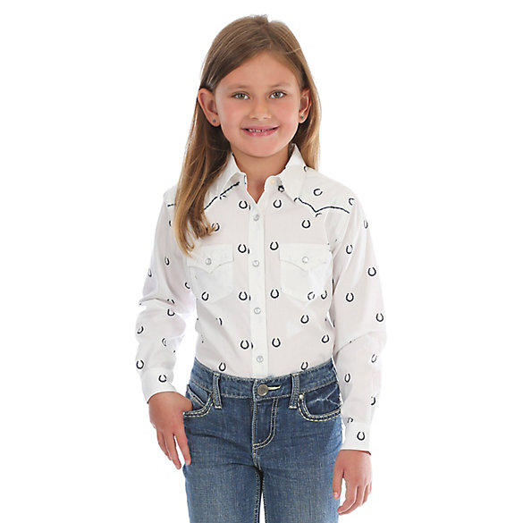 Girl's Long Sleeve Horseshoe Print Western Snap Shirt