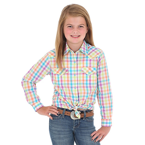 Girl's Long Sleeve Plaid Western Snap Shirt with Stitched Yoke
