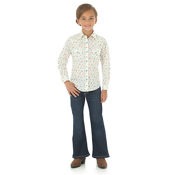 Girl's Printed Western Snap Shirt