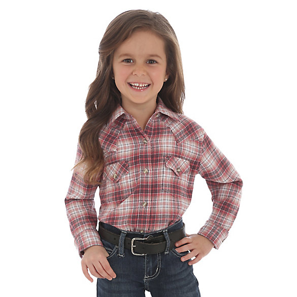 Girl's Wrangler® Long Sleeve Flannel Plaid Button-Down Shirt