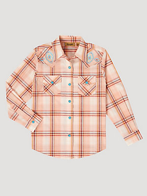 Girl's Long Sleeve Embroidered Yoke Plaid Western Snap Shirt