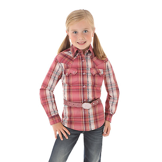 Girl's Plaid Long Sleeve Western Snap Shirt