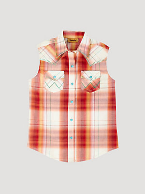 Girl's Sleeveless Plaid Western Snap Shirt