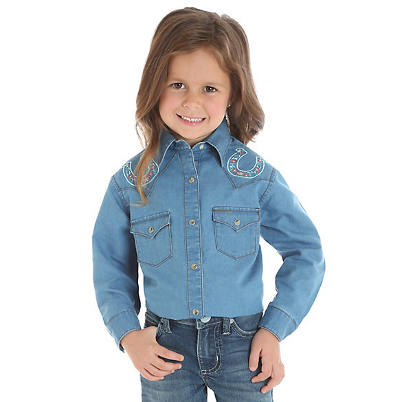 Girl's Long Sleeve Denim Snap Shirt with Horseshoe Embroidery